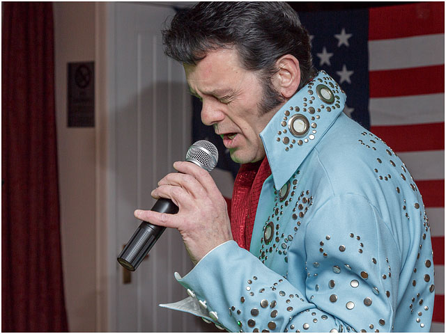 Fox Hounds Denmead Public House Elvis Tribute Singer American Flag Blue Las Vegas Suit