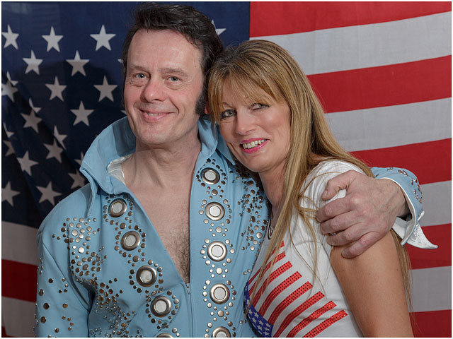 Fox Hounds Denmead Public House Elvis Tribute Singer American Flag Blue Las Vegas Suit Portrait
