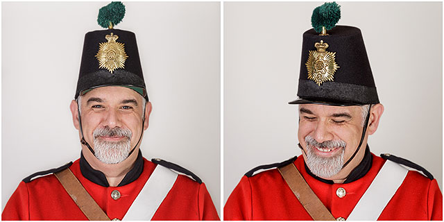 1860 Fort Cumberland Guardsman Portrait Laughing Studio Red Shako Hat
