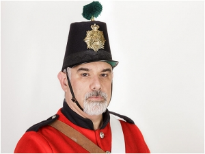 Fort Cumberland Guard Infantryman 1860 Uniform Red Black Shako Hat Green Plume Man Male Beard