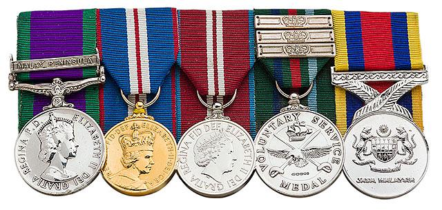 CSM Malay Peninsula Medal, Queens Golden Jubilee Medal, Queens Diamond Jubilee Medal, Voluntary Long Service Medal, Pingat Jasa Malaysia Medal