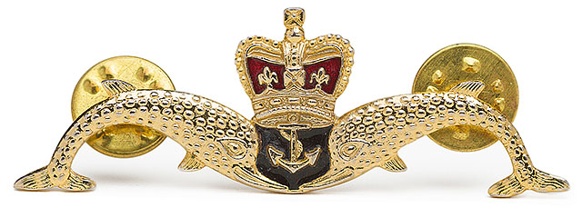 Metal Royal Navy Submarine Uniform badge with twin pin fittings