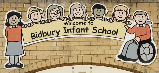 Entrance sign for Bidbury Infants School in Havant Hampshire