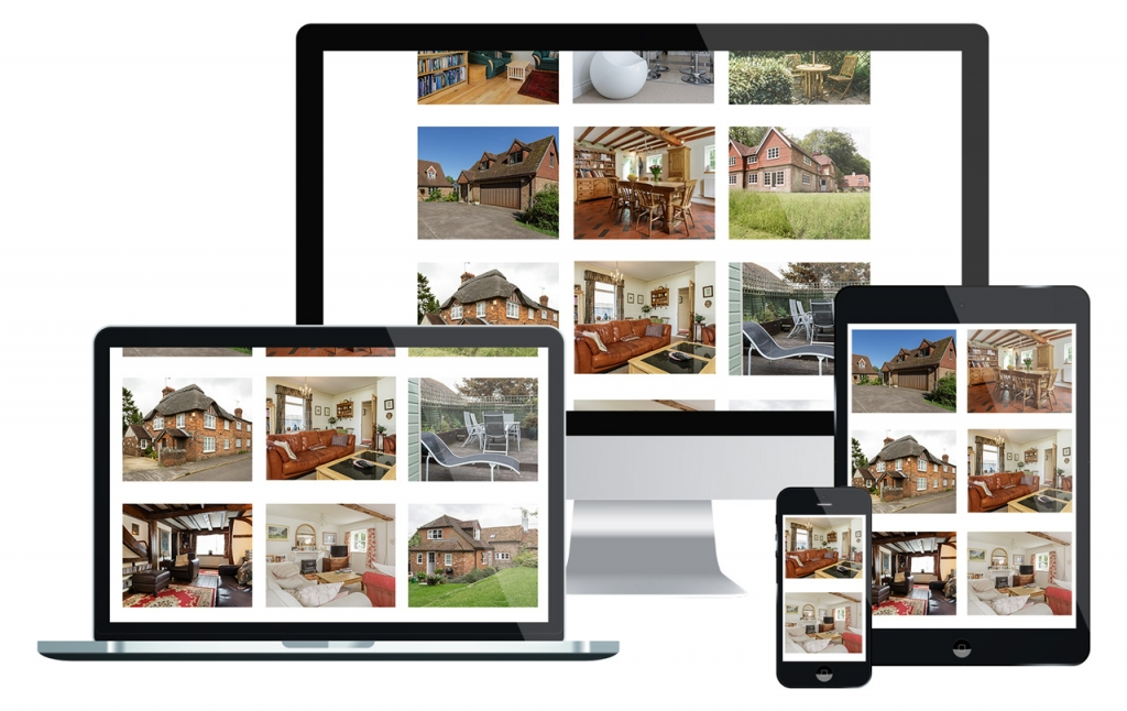 four walls plus property marketing photography shown on various electronic displays