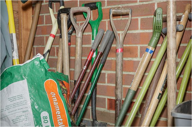 Stack of gardening tools