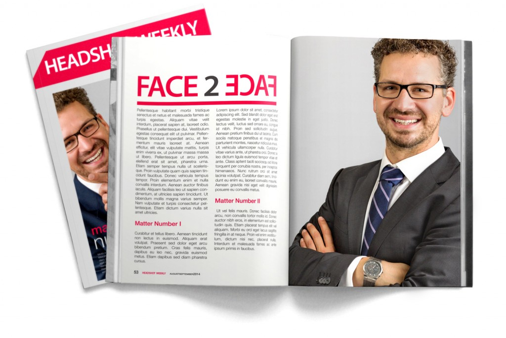 Mock up of Headshot Weekly Magazine with male business portrait