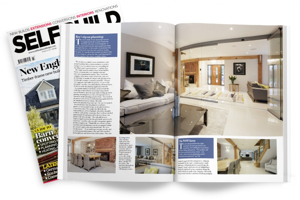 self build and design magazine spread featuring four walls plus photography