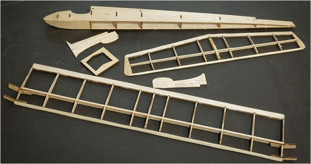 Parts of a balsa wood model plane