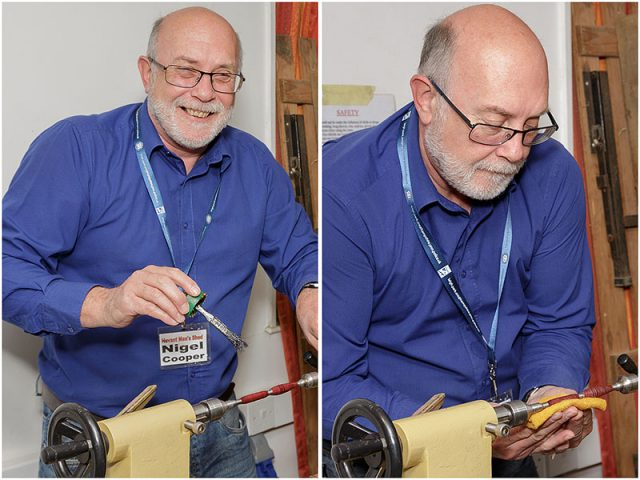 Nigel Cooper turning a wooden pen holder