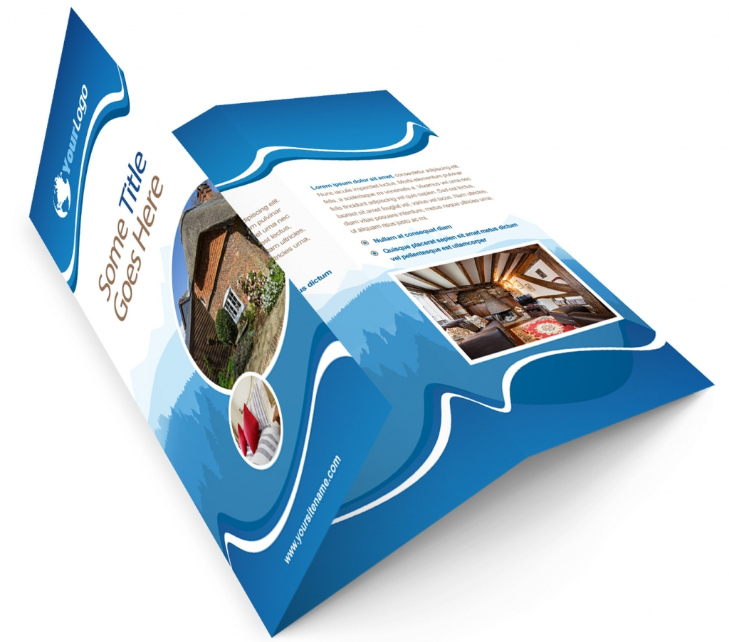 Printed property marketing trifold with photography by four walls plus