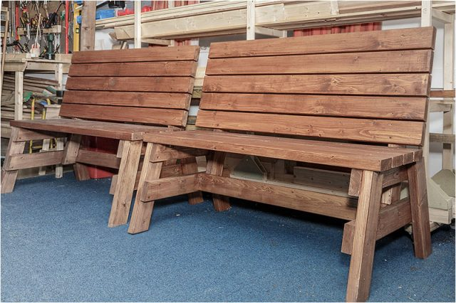 Havant Men's Shed wooden benches