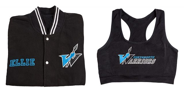 portsmouth warriors cheerleading varsity jacket and sports bra