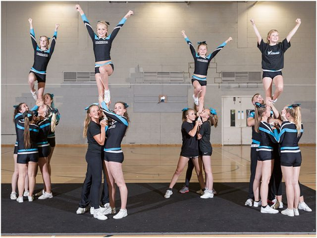 portsmouth warriors cheerleaders practising their pyramid routine