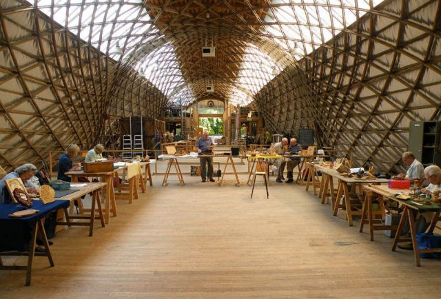 Basic woodcarving tuition at the Weald & Downland Open Air Museum near Chichester