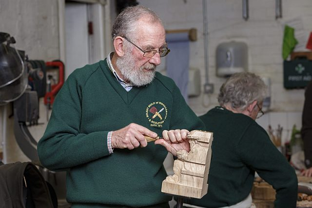 solent woodcarvers guild member at work