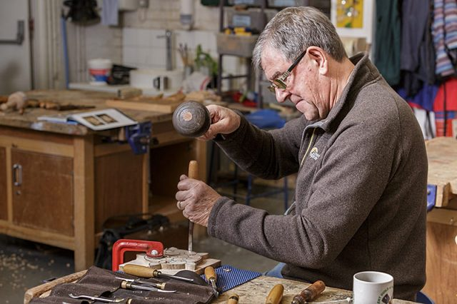 Member of the solent guild fo woodcarvers and sculptors at a carve-in day
