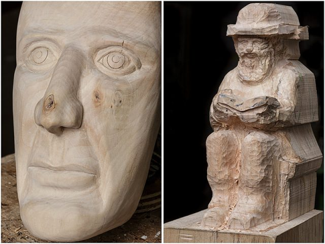 close up of two work in progress carvings from members of the solent woodcarvers and sculptors guild