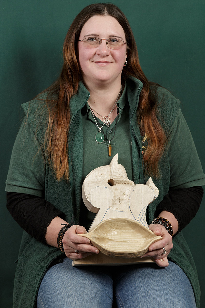 portrait of ros palmer a member of the solent guild of woodcarvers and sculptors