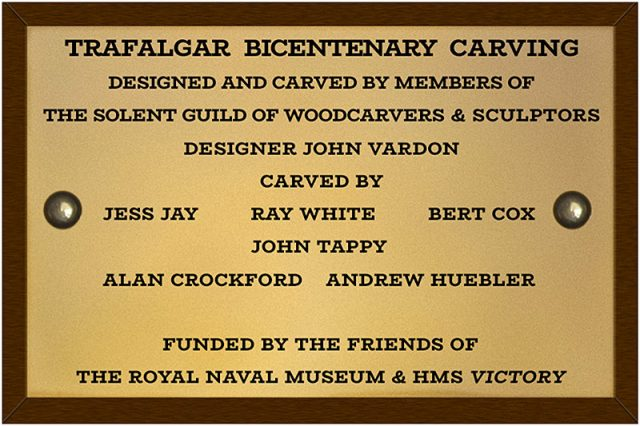 trafalgar bicentennial commemoration carving plaque celebrating the work of the solent guild of woodcarvers and sculptors