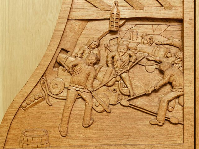 Bicentenary of Trafalgar shield wood carving detail by the solent guild of woodcarvers and sculptors