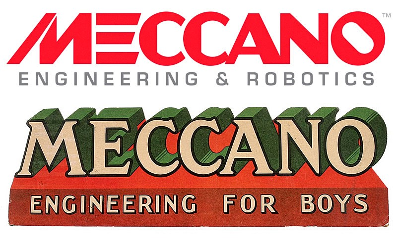 Early Meccano Logotype and modern equivalent