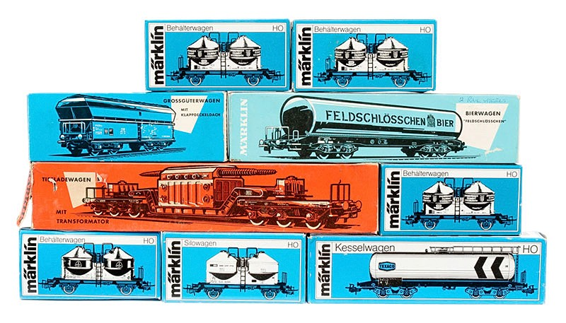 Early German HO scale model trains in original packaging