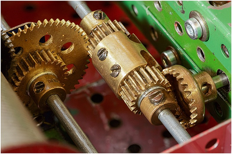 Close up of meccano model gearing