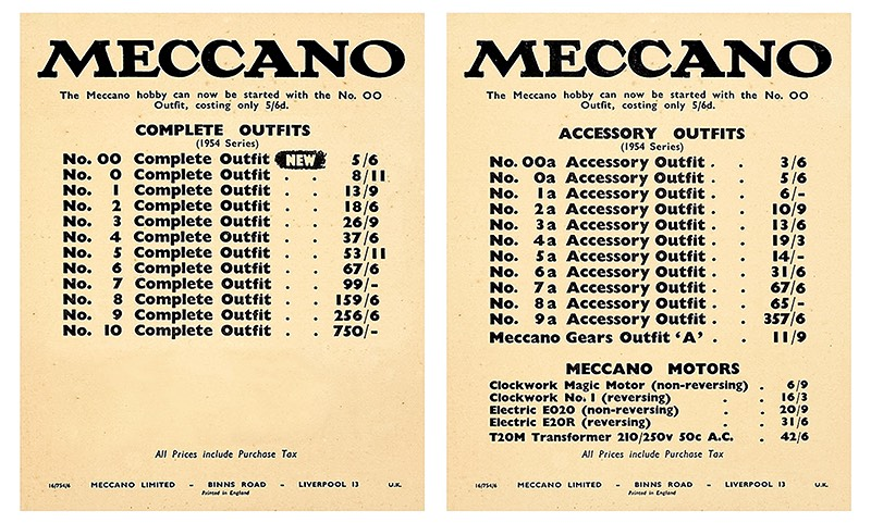 1954 Meccano price list