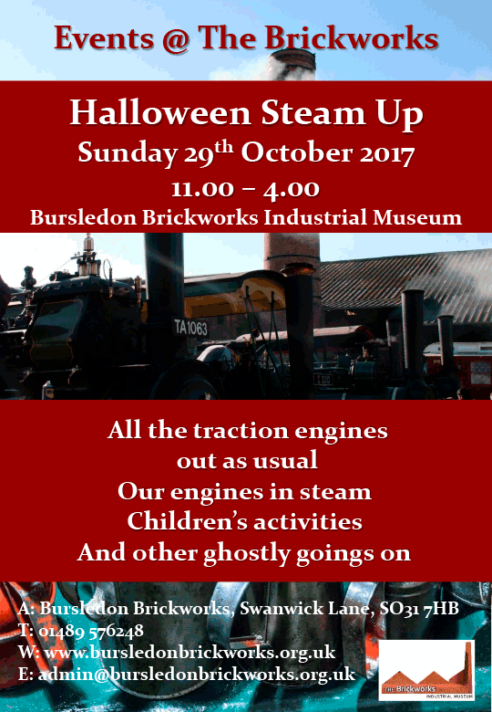 steam up poster for bursledon brickworks museum