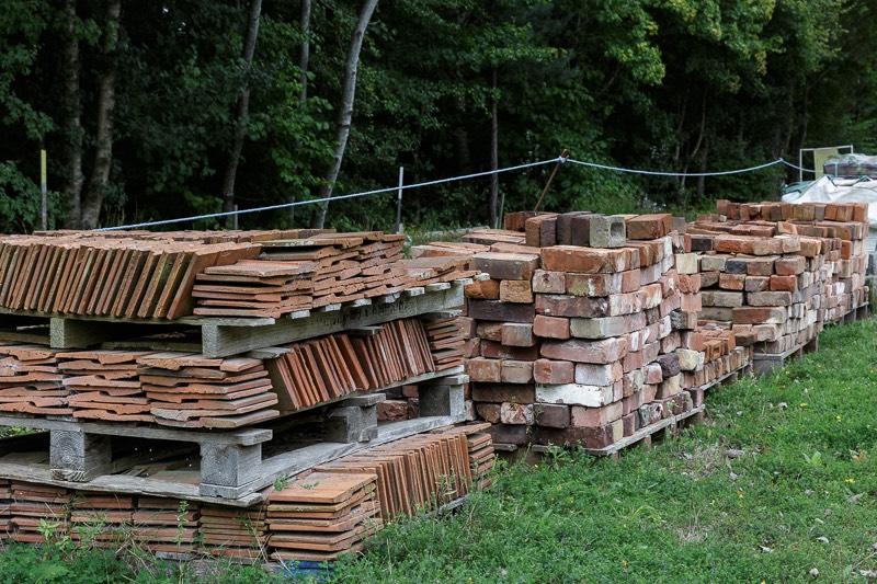 stack of bricks and tiles made at bursledon brickworks museum