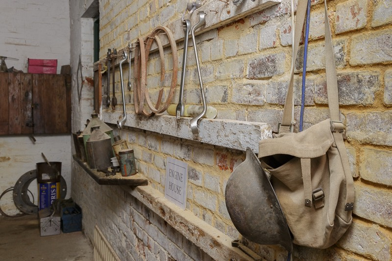 Brickworks engine house tools and period oil cans.