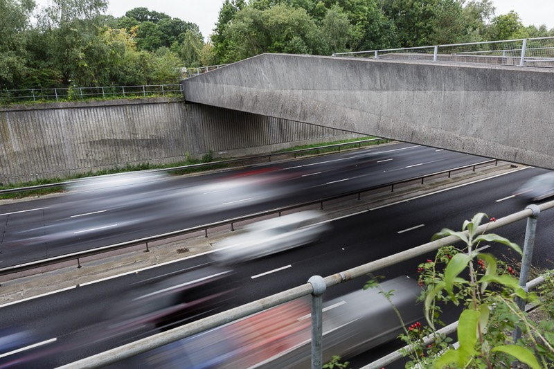 Bridge over the M27 motorway leading to the bursledon brickworks museum