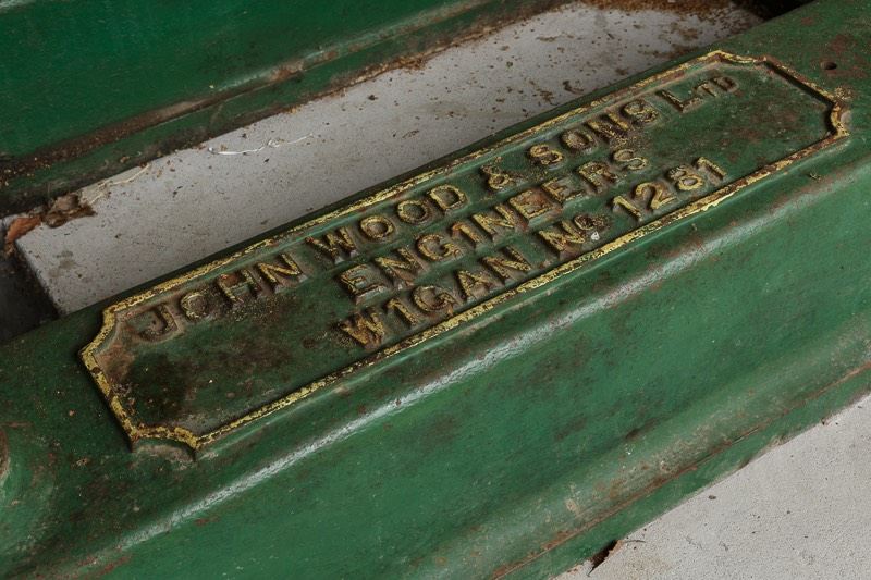Nameplate for Number two John Wood steam engine at bursledon brickworks museum