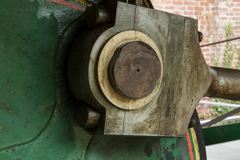 Closeup of Number two John Wood steam engine at bursledon brickworks museum