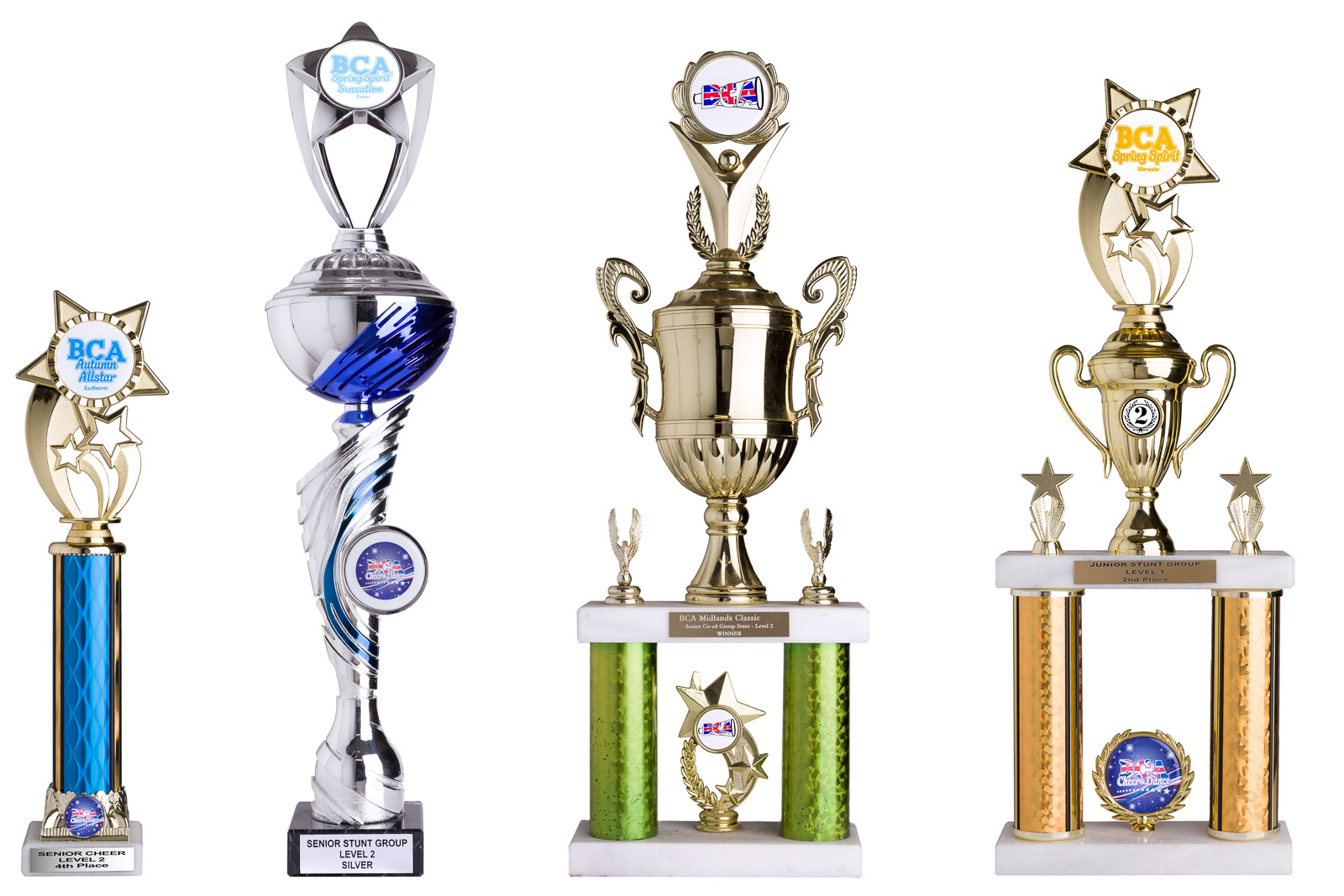british cheerleader association winners trophies on white background