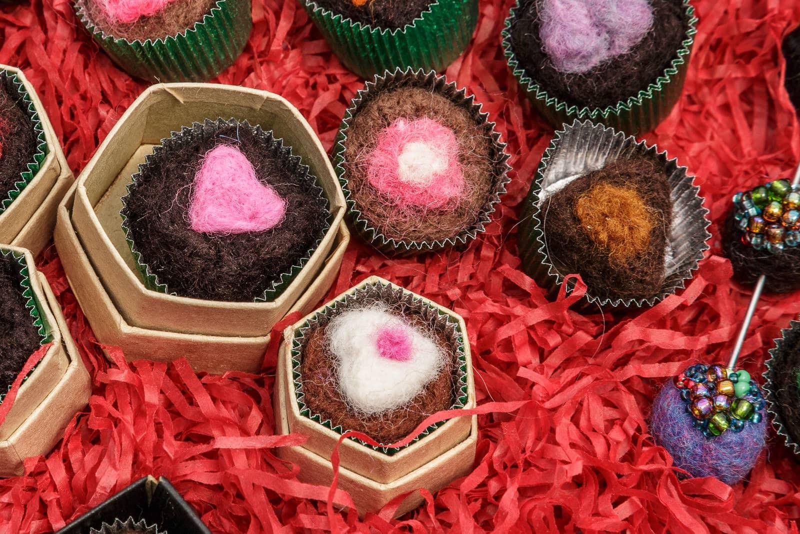 felt chocolate selection product close-up