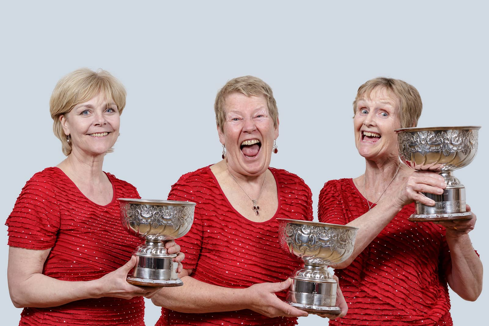 informal group portrait ofacapella female choir winners