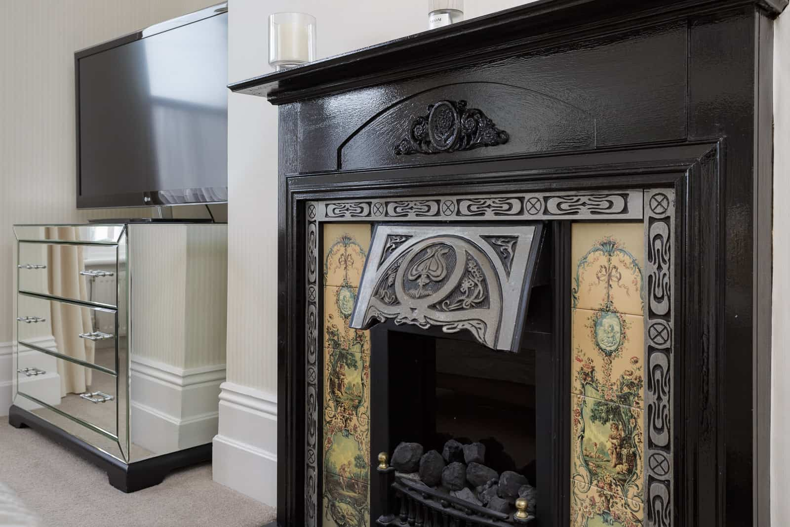 Feature Victorian fireplace in domestic setting
