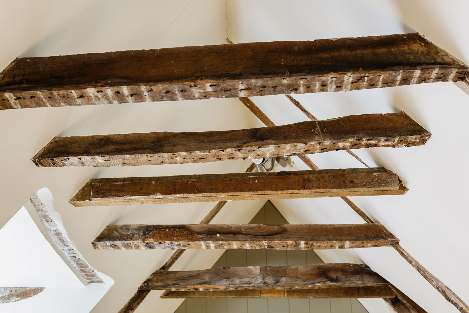 feature wooden roof beams in a country house