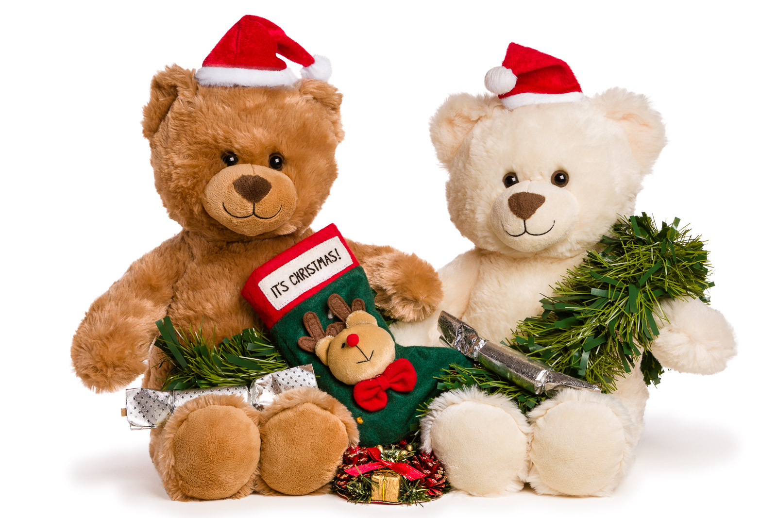 spire healthcare christmas teddy bears on white background