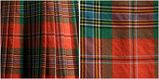 scottish bagpiper Clan MacLean kilt and close up of tarten pattern