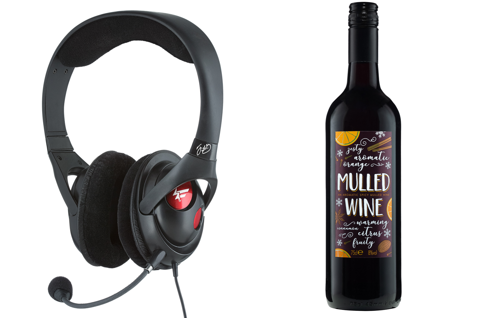 music headphones and mulled wine on white background