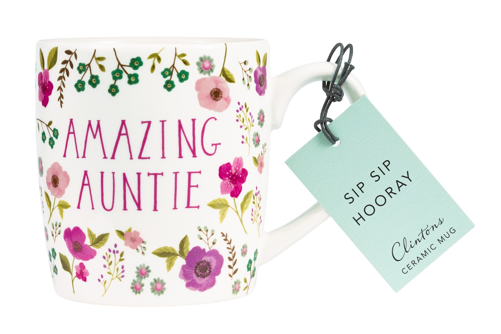 retail product photograph of amazing auntie ceramic mug on white background