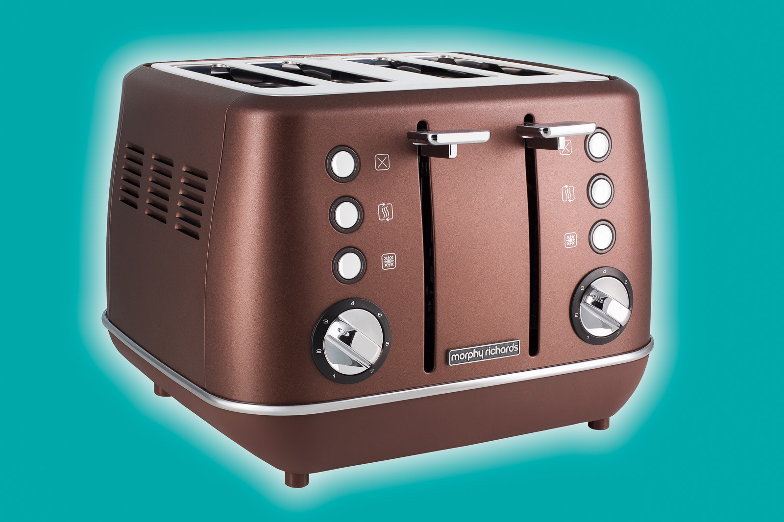 Copper coloured kitchen toaster appliance on teal background with white highlight surround