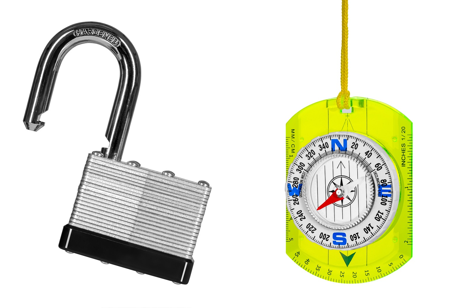 single open steel padlock and plastic compass on a white background for retail marketing
