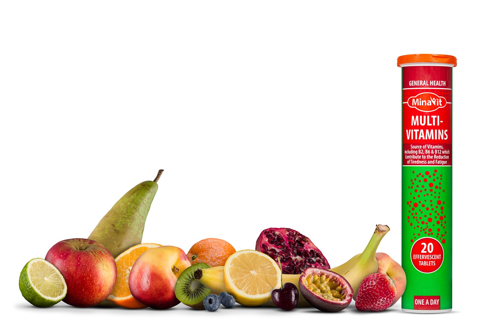 Plastic tube of multivitamin tablets with various fruits on a white background
