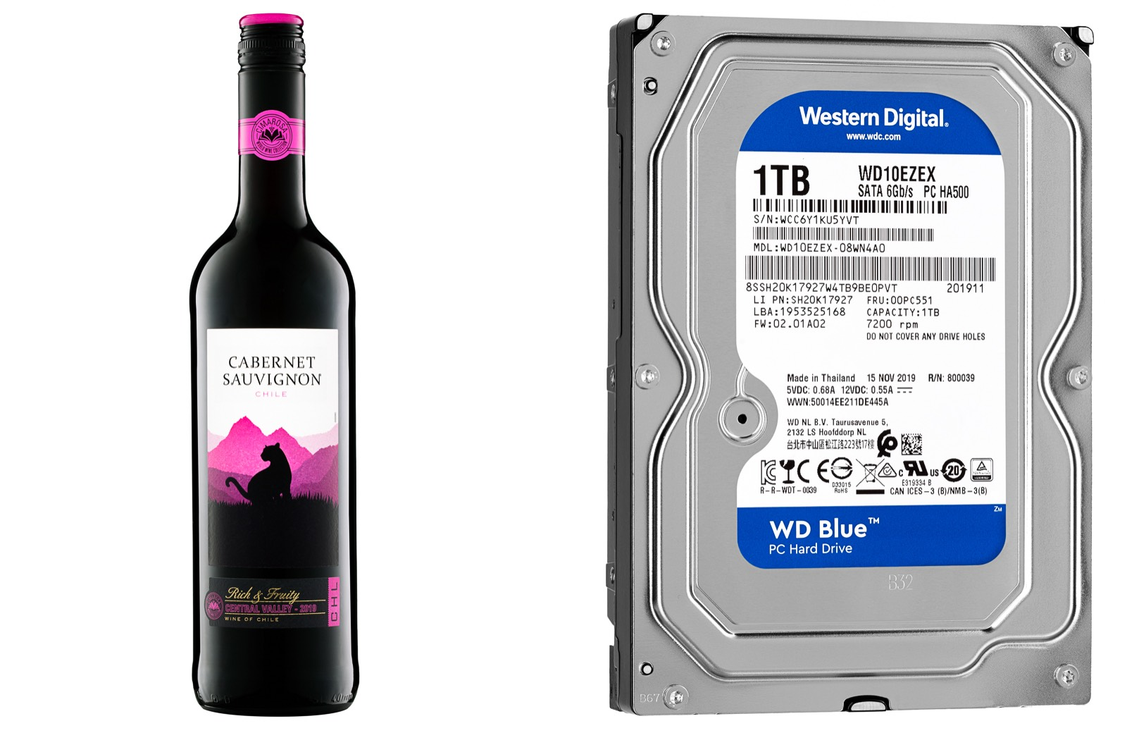 retail product photograph of red wine and western digital blue 1TB PC Hard Drive